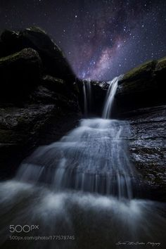 **Milky Way Falls** Hey everyone. I thought since I shared a blended milky way shot the other night and you all. Australia Landscape, Nature View, Forest Park, Sunshine Coast, Milky Way, Stars And Moon, Stargazing, Night Skies, Mother Nature
