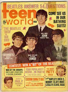 スーパーアイドル、ビートルズ。Teen World magazine Beatles cover
