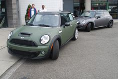 Matte Army Green vehicle wrap on a Mini Cooper S for Northwest Mini by WrapJax.com