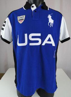 33d9c5a11e NWT Polo Ralph Lauren L Mens Polo Shirt Country USA Blue White Black Custom  Fit #