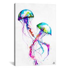 Trademark Art 'Narasumas' by Marc Allante Graphic Art on Metal Colorful Jellyfish, Jellyfish Art, Watercolor Jellyfish, Jellyfish Drawing, Colorful Fish, Colorful Decor, Painting Prints, Art Prints, Canvas Prints
