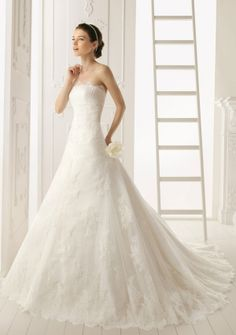 A-line Princess Strapless Chapel Train in Lace Wedding Dress. Would probably add lace across one shoulder or maybe make cap sleeves