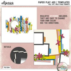 Paper Play #03   Templates by Akizo Designs   Digital Scrapbooking 30% off now through Sunday!
