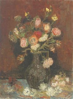 Vase with Asters and Phlox  Oil on canvas  61.0 x 46.0 cm.  Paris: late Summer, 1886
