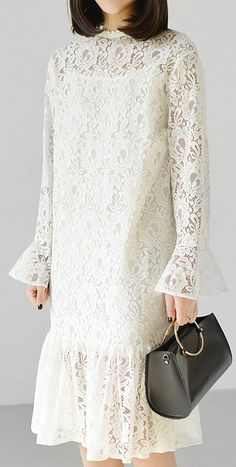 2017 spring white lace dress causal pleated hem maxi dresses long sleeveThis unique deisgn deserves the best quality texture. Makes you look slimmer and mat Lace Skirt And Blouse, White Lace Skirt, Lace Dress With Sleeves, Dress Brokat, Casual Formal Dresses, White Cocktail Dress, Maxi Dresses, Dress Outfits, Long Sleeve