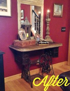Repurposed antique Singer sewing machine with concrete table top