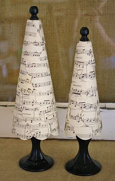 sheet music trees using a circle punch, styrofoam, finial and painted candle holder for base; instructions from adiamondinthestuff