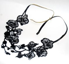 Orchids Reversible Leather Necklace by FloranceandLeah on Etsy, $55.00