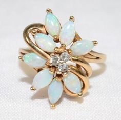 Vintage Floral Opal & Diamond Marquise 10k by LadyLibertyGold October Birthstone