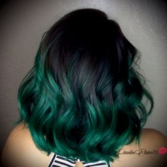 Emerald green ombré hair. This but pulled through higher and not all layers