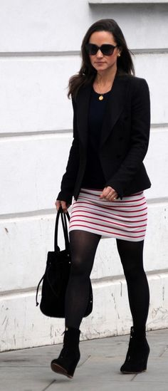 Pippa Middleton. I love those wedge boots! I would put a different skirt on to make it more work appropriate.