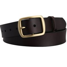 Mannice Fashion Embossed Classic Polished Buckle Genuine Leather Waistband Dark Brown