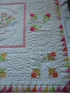 These 4 quilts are Karen's. Karen is a fairly new quilter and I think she did a great job on these quilts. I was suppose to have . Machine Quilting Patterns, Longarm Quilting, Free Motion Quilting, Quilt Patterns, Quilting Ideas, Embroidered Quilts, Applique Quilts, Quilt Inspiration, Quilt Stitching