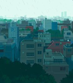 'In the tokyo' by Toyoi Yuuta (豊井祐太), 2019 Aesthetic Gif, Aesthetic Pictures, Aesthetic Wallpapers, Pixel Art Background, Scenery Background, Cool Pixel Art, Cool Art, Arte 8 Bits, Satirical Illustrations