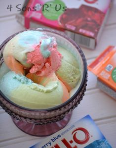 Jello Rainbow Sherbet Ice Cream on MyRecipeMagic.com