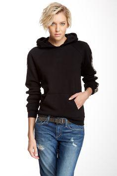 Rhinestone Studded Sleeved  Hoodie ~~