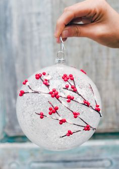 Great Christmas Giveaway: Winter Forest Edition Frosted holly ornament adds a breath of whimsy to the Woodland Ornament Set from Balsam Hill. Via holly ornament adds a breath of whimsy to the Woodland Ornament Set from Balsam Hill. Christmas Ornaments To Make, Noel Christmas, Handmade Christmas, Holiday Crafts, Christmas Decorations, Diy Ornaments, Craft Decorations, Christmas Events, Christmas Ideas
