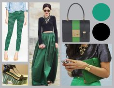 Emerald, Pantone's 2013 colour of the year, paired with our fave colour, black, lol!