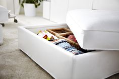 Comfortable and hard working! Replace your coffee table with the KIVIK footstool for a flexible option with plenty of storage. I think I would make a washable slipcover for this to coordinate with the living room. Small Space Living, Living Spaces, Decorating Small Spaces, Decorating Ideas, Home Organization, Organizing, My New Room, Apartment Living, Home Interior Design