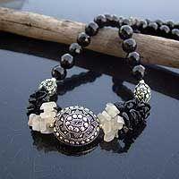 Onyx and moonstone strand necklace, 'Treasure'