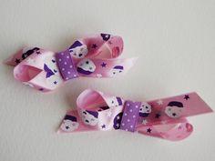 Set of 2 Cupcake Satin Ribbon Hairclips by stayhomecupcake on Etsy, $6.00