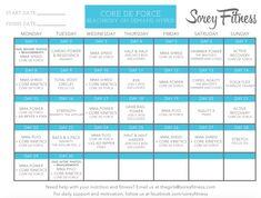 Core de Force Hybrid Calendar | Beachbody on Demand Calendar  Schedule | #coredeforce