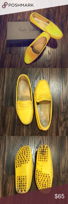 Paolo Bentini Italian leather loafers Fun yellow leather loafers. Made in Italy. In original box with original dustbag. Fair wear. European size 40 Paolo Bentini Shoes Flats & Loafers