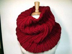 Hand Knit Cowl Chunky Long Rib Cowl Cranberry Red by GrandmasStash, $35.00