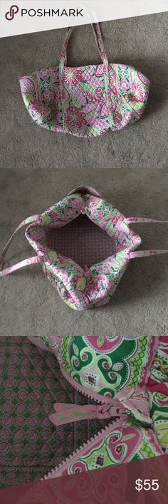 Pinwheel Pink Vera Bradley large duffel bag w tags Pinwheel pink pattern, authentic Vera bradley with pink and green pinwheel pattern. I still have the original tag (unattached) with the pattern name and original price. Vera Bradley Bags Travel Bags