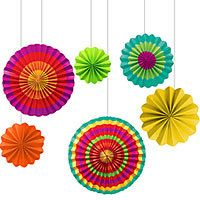 Fiesta Assorted Paper Fans 6ct    Start the fiesta! These Assorted Paper Fans feature bright Southwest colors and patterns on Paper Fans of various sizes. The fans arrive flat and fold out into lightweight but sturdy pleated discs. Attached strings make them ready to hang for your Cinco de Mayo party or fiesta theme celebration. Package includes 6 Paper Fans, each one unique.