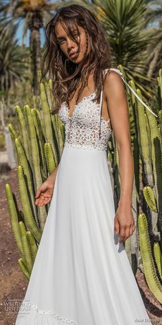 asaf dadush 2018 bridal sleeveless spaghetti strap deep plunging sweetheart neckline heavily embellished bodice bohemian a line wedding dress open back sweep train (8) zv -- Asaf Dadush 2018 Wedding Dresses