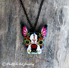Prettyininkjewelry at etsy - Boston Terrier (posting this for the benefit of the Tookster....)