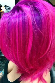 21 Loveliest Magenta Hair Color Ideas - P r e t t y H a i r - Magenta Hair Colors, Funky Hair Colors, Vivid Hair Color, Beautiful Hair Color, Hair Dye Colors, Purple Lilac, Pink, Pelo Multicolor, Dyed Hair