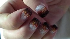 Pretty brown gradient fall nails
