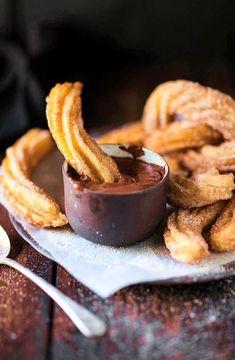 Low FODMAP Recipe and Gluten Free Recipe #lowfodmaprecipe - Churros with chocolate dipping sauce http://www.ibs-health.com/low_fodmap_churros_chocolate_dipping_sauce.html