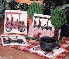 Black Cat Coaster Set-Plastic Canvas Pattern in Crafts, Needlecrafts & Yarn, Needlepoint & Plastic Canvas Plastic Canvas Coasters, Plastic Canvas Stitches, Plastic Canvas Ornaments, Plastic Canvas Tissue Boxes, Plastic Canvas Crafts, Plastic Canvas Patterns, Cat Coasters, Yarn Storage, Tissue Box Covers
