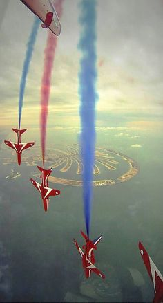 """The RAF Red Arrows in Dubai at the weekend showing a """"RedFour"""" - pinned 21/11/2013."""