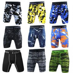 Men's Sports GYM Compression Wear Under Base Layer Shorts Pants Athletic Tights Camo Shorts, Spandex Shorts, Shorts With Tights, Sport Shorts, Leggings, Basketball Compression Pants, Compression Shorts, Running Tights, Shopping