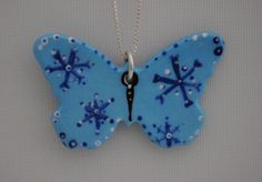Unique Hand Painted Snowflake Butterfly Necklace by Butterfly June www.bflyjune.etsy.com $32.50