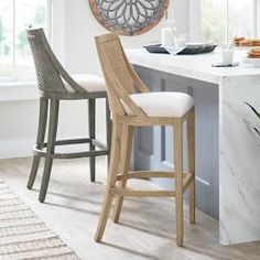 Rattan Counter Stools, Counter Stools With Backs, Counter Height Bar Stools, Kitchen Stools, Bar Counter, Island Stools, Woven Bar Stools, Unique Bar Stools, Kitchen Seating