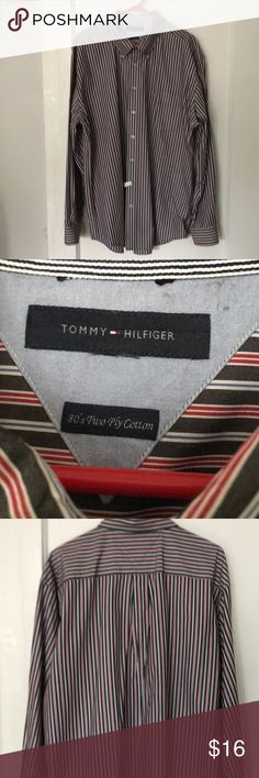 Crisp, button-down two-ply cotton shirt in charcoal, red, white & blue. Professionally cleaned and pressed. Size Tag missing. Clean And Press, Plus Fashion, Fashion Tips, Fashion Design, Fashion Trends, Tommy Hilfiger Shirts, Dress Shirts, Blue Stripes, Adidas Jacket