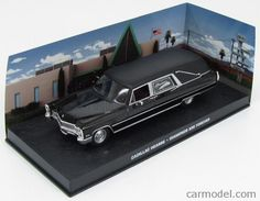 EDICOLA BONDCOL088 Skala: 1/43  CADILLAC HEARSE FUNERAL CAR CARRO FUNEBRE 1959 - 007 JAMES BOND - DIAMONDS ARE FOREVER - UNA CASCATA DI DIAMANTI BLACK