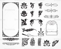 Art Deco Frame and Corner Vector Pack. Choose from thousands of free vectors, clip art designs, icons, and illustrations created by artists worldwide! Motif Art Deco, Art Nouveau Design, Design Art, Art Designs, Web Design, Tatuaje Art Nouveau, Art Nouveau Tattoo, Mandala, Illustrator