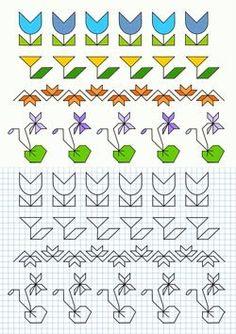 Risultati immagini per grecas escolares Graph Paper Drawings, Graph Paper Art, Doodle Drawings, Easy Drawings, Blackwork, Cross Stitch Borders, Cross Stitch Patterns, Painting Lessons, Machine Quilting