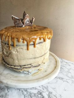 Chocolate Stout Cake with Espresso Buttercream and Dulce de Leche