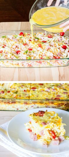 Easy Denver Omelet Hash Brown Casserole - beaten eggs are poured over a mix of hash browns, bell pepper, onion, tomato, garlic, and cheese; and baked