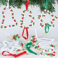 Anhänger Bastelsets Weihnachten mit Perlen für Kinder zum Basteln und als Baumschmuck (6 Stück)