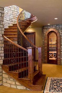 Viscaya Luxury Italian Home Stairs To the Wine Cellar Italian Home, Luxury House Plans, House Stairs, Basement Stairs, Staircase Design, Stair Design, Curved Staircase, Stairways, My Dream Home