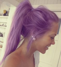 #purple #hair #style #hairstyle #women #pastel #color #colorful #pearl