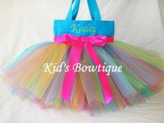 Bright Color Burst Aqua Monogrammed Tutu Tote Bag  by kidsbowtique, $29.95